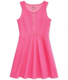 Epic thread pink/white striped zip-front dress