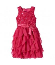American princess red floralsequin soutache ruffle dress