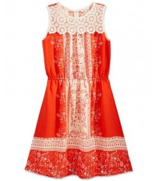 Monteau coral/cream colorblock print dress