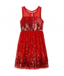 speechless red confetti sequin illusion girls dress  Big Girl