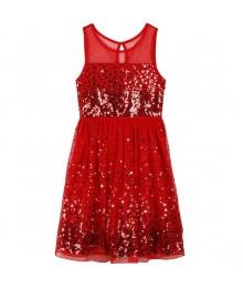 speechless red confetti sequin illusion girls dress