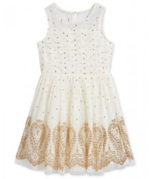sequin heart ivory/cram wt gold glitters girls dress