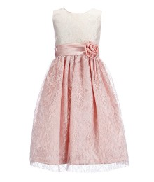 Jayne Copeland Pink Lace Shiny Gown