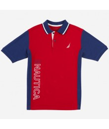 Nautica Red With Blue Side Panel & Sleeve Polo Shirt Little Boy