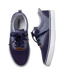 Gymboree Navy/Chambray Colorblock Boys Lace Sneakers