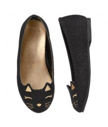 Gymboree Black Sparkle Cat Flats
