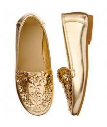 Gymboree Gold Floral Loafers