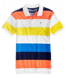 Tommy Hilfiger Wht/Orange/Blue/Light Blue Striped Polo  Big Boy