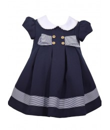 Bonnie Jean Baby Blue With White Collar Nautical Pleats Dress