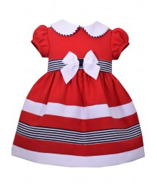 Bonnie Jean Baby Red Wt White Collar & Black/White Band Dress