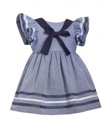 c18413197 Bonnie Jean Baby Blue / White Nautical Dress