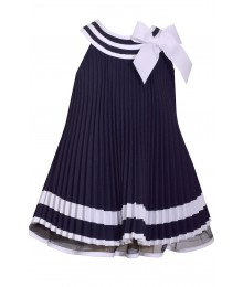 Bonnie Jean Baby Blue With Blue & White Collar Nautical Pleated Dress