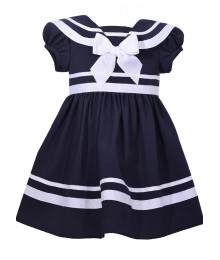 Bonnie Jean  Blue With Blue & White Collar Nautical Dress Little Girl