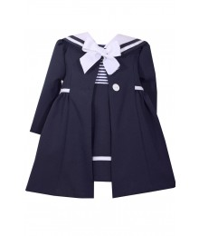 Bonnie Jean Blue With Blue & White Collar Nautical Coat Set