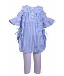 Bonnie Jean Blue/ White Striped 2 Piece Cold Shoulder Set (Wt White Legging)