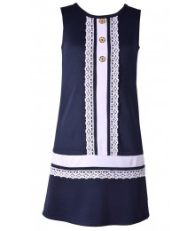 Bonnie Jean Blue / White Lace Dress Wt 3 Gold Buttons