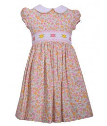 Bonnie Jean Pink Wt White Collar Embroidered Waist Dress
