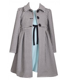 Bonnie Jean 2 Piece Black/White Jacket & Grey Dress Coat Set