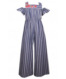 Bonnie Jean Grey/White Stripe Flower On Chest Jumpsuit