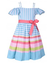 Bonnie Jean Turquoise/White Pink Linen Look Pink Belted Dress