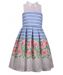 Bonnie Jean Blue/White Striped Flowery Silk Collar Pleated Dress