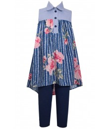Bonnie Jean Blue Flowery Striped 2 Piece Hi-Low Blouse /Leggings Set
