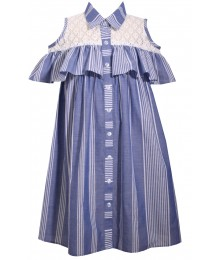 Bonnie Jean Blue & White With Net Cold Shoulder Blouse Shirt  Little Girl