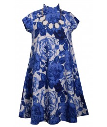 Bonnie Jean Blue /White Floral Wt White Necklace Flowing Dress  Big Girl
