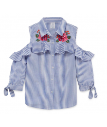 Arizona Light Blue/White Stripe Embroidered Cold Shoulder Blouse