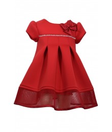Bonnie Jean Red Airpuff/Mesh Dress