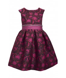 Bonnie Jean Fuchia Floral Brocade Dress
