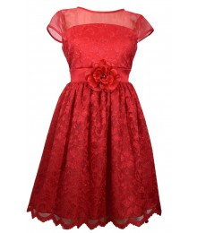 Bonnie Jean Red Illusion Lace Dress