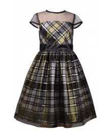 Bonnie Jean Gold/Black Glitter Plaid Illusion Dress