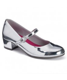 So Silver Wet Look Heel Strap Shoes