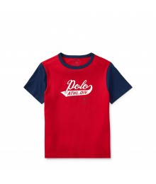 Polo Red With Blue Sleeve Cotton Jersey Tee