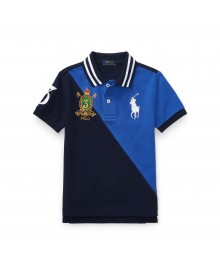 Polo Ralph Lauren Navy Color-Block Cotton Mesh Polo