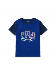 Polo Blue With Black Sleeve Cotton Jersey Tee