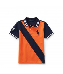 Polo Ralph Lauren Orange/Navy Color-Block Banner Cotton Mesh Polo Big Boy