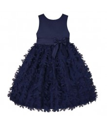 American princess navy satin petals applique dress