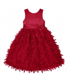 American princess red satin petals applique dress