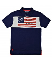 Uspa Blue With Us Flag Chest Polo Shirt