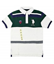 Uspa White Wt Green Chest & White Collar/White Big Pony Polo Shirt