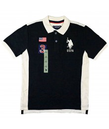 Uspa Black With White Collar And No 3 / Flag Polo Shirt
