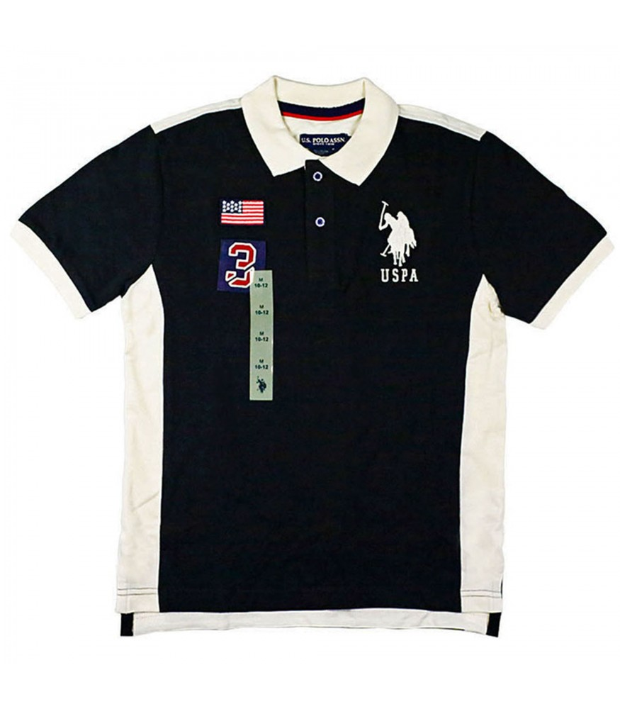 Uspa Black With White Collar And No 3   Flag Polo Shirt 241d45d267fa
