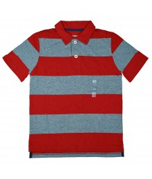 Arizona Red/Grey Bar Stripped Polo Boys Tee