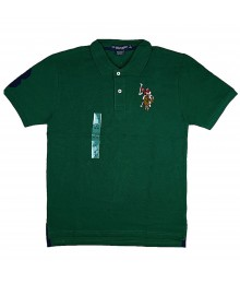 U.S Polo Assn Green Wt Multi Uspa Crest Polo