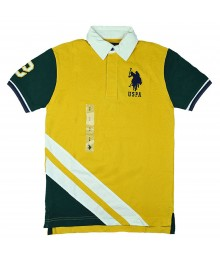 Uspa Yellow Diagonal Stripe Color Block Polo Shirt
