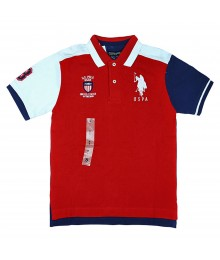 Uspa Red Color Block Polo Shirt