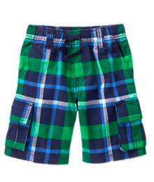 Gymboree Green Plaid Cargo Shorts