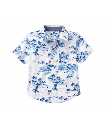 Gymboree White Wt Blue Tropical Shirt
